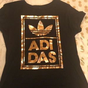 Adidas rose gold and black t-shirt